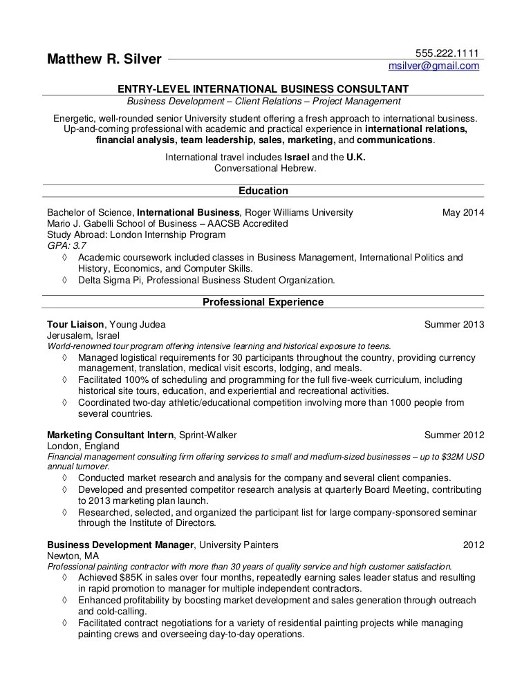 resume for recent college grads