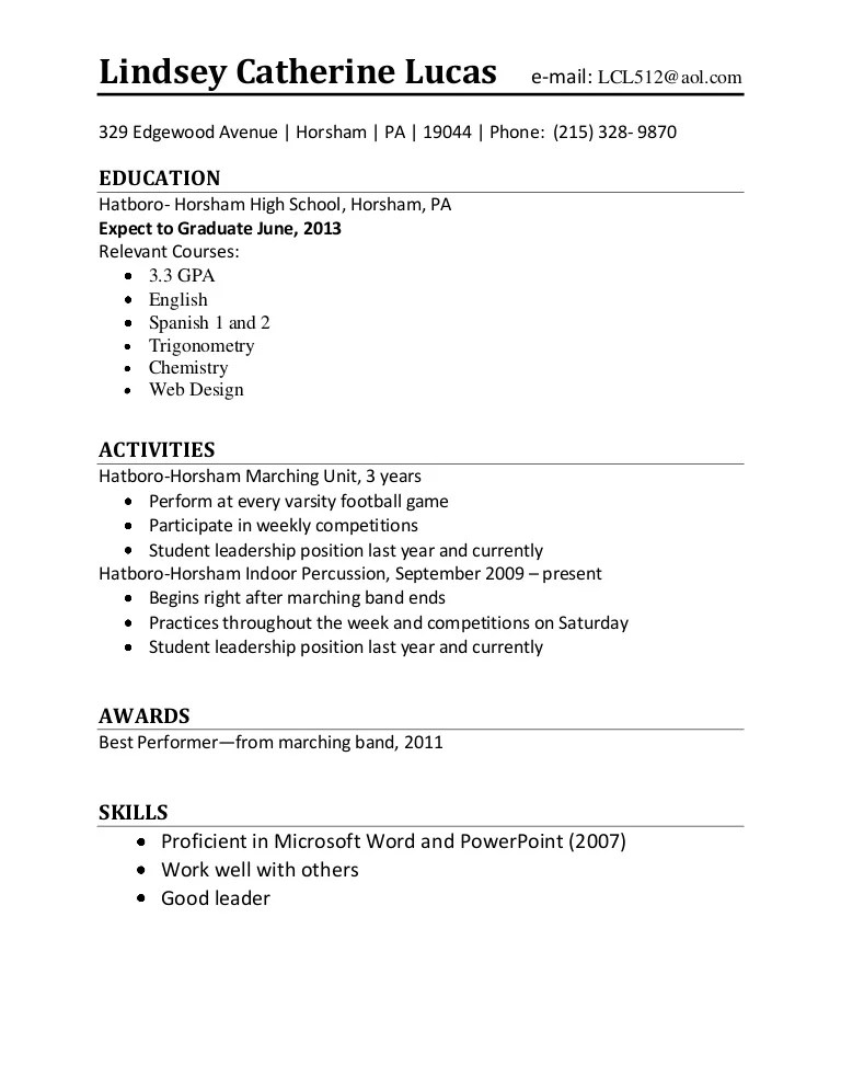 high school marching band resume