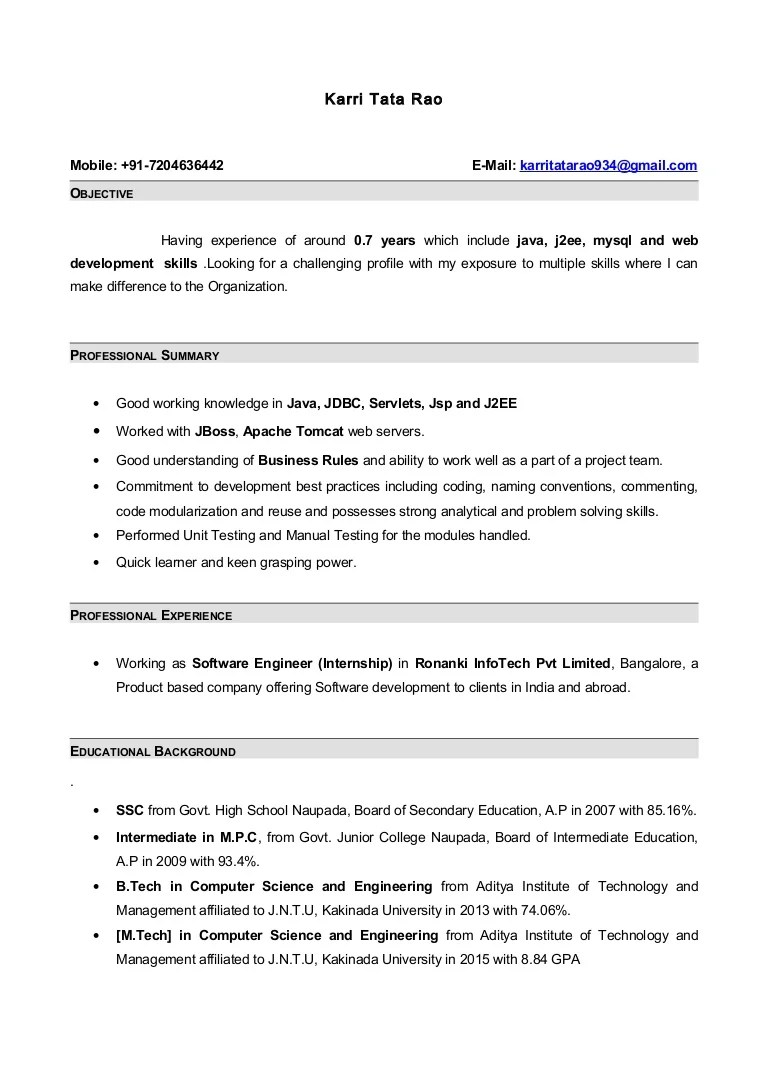 Java Programmer Resume Resume With 7 Months Internship Experiance In Java