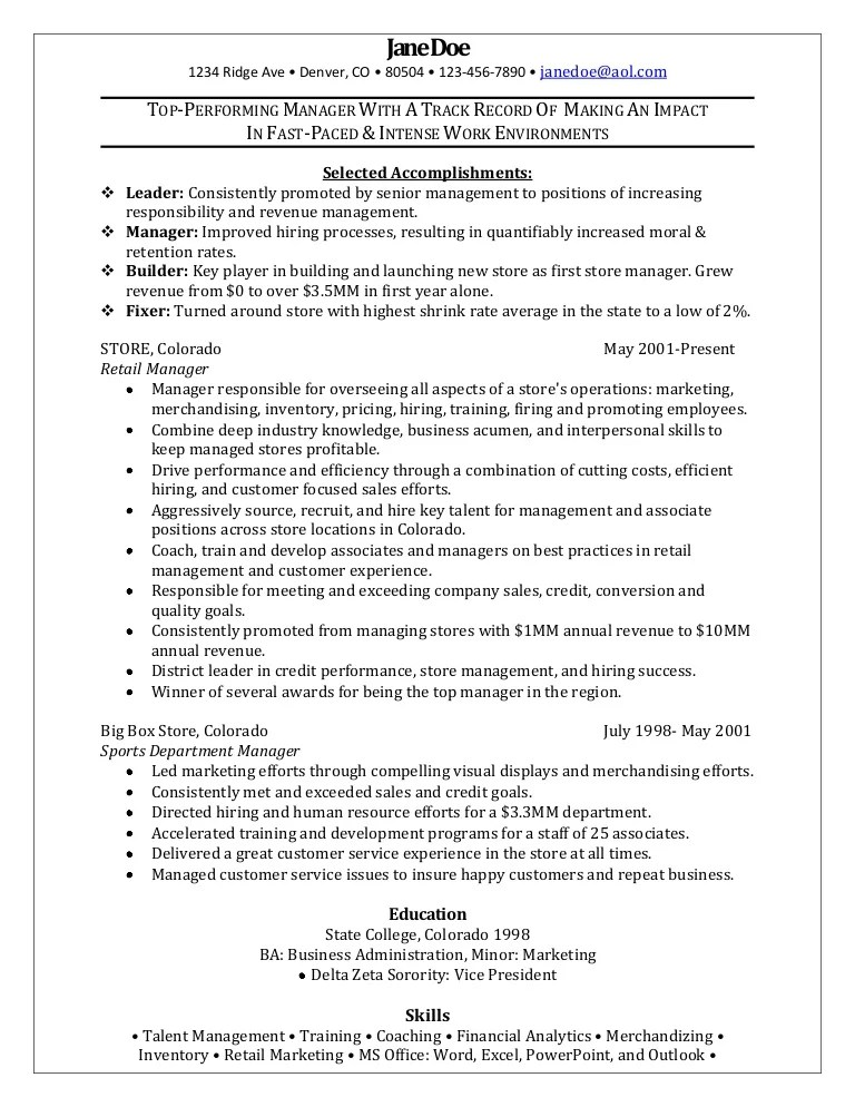 resume example retail manager