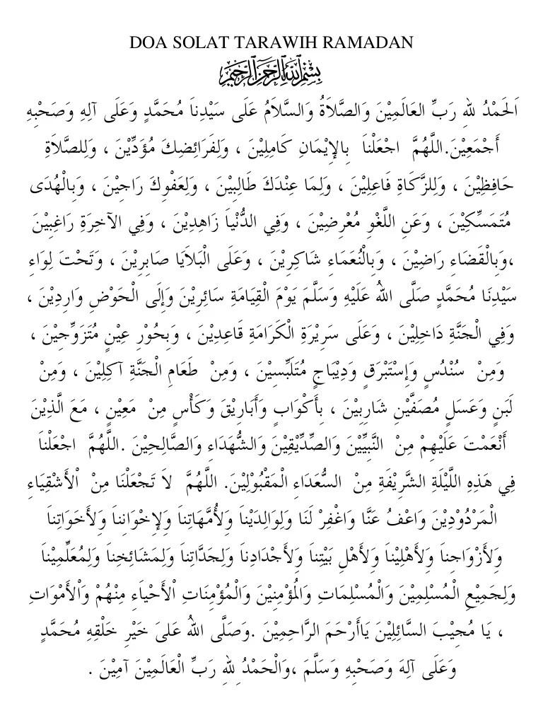 Doa Tarawih Pdf : tarawih, Risalah, Ramadan, Solat, Tarawih