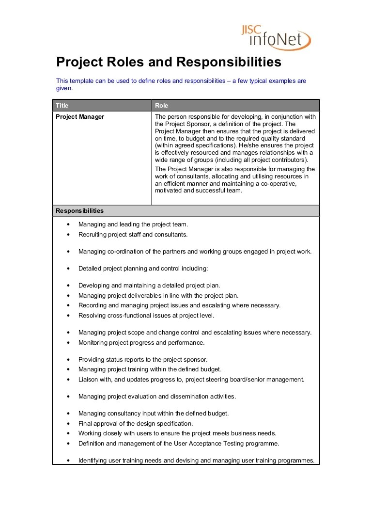 Project Manager Duties Responsibilities Roles And Responsibilities Project Manager