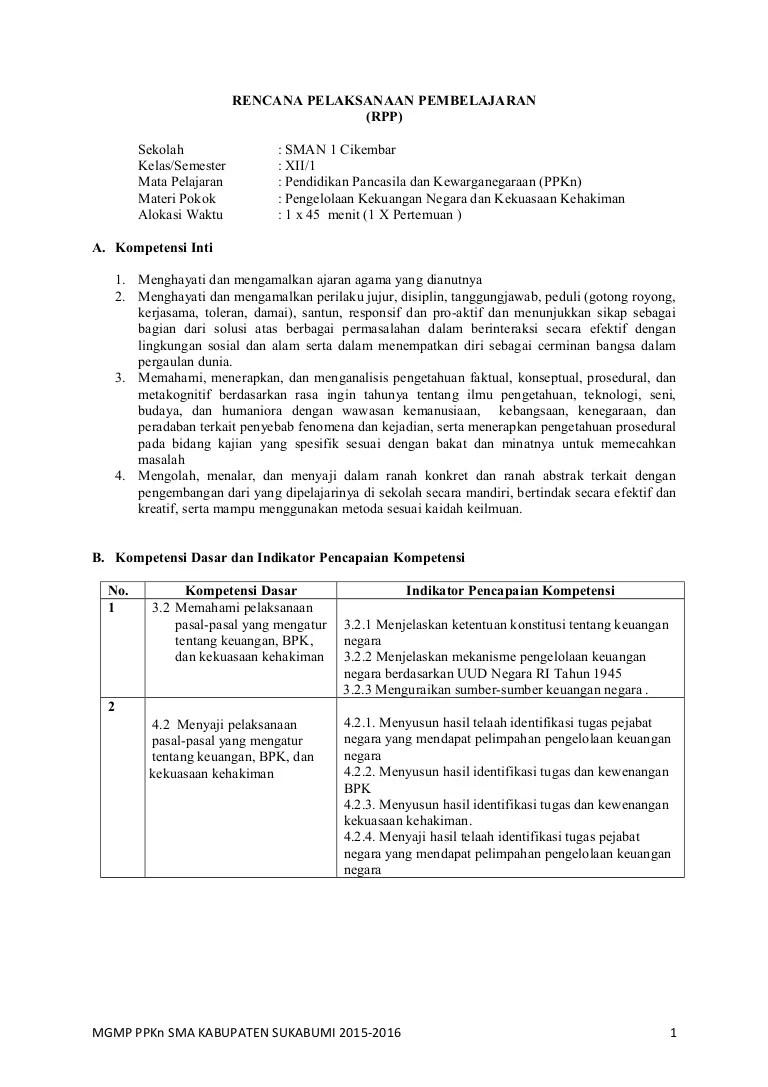 Rpp Bab 2 Ppkn Sma Kelas Xii Kurnas