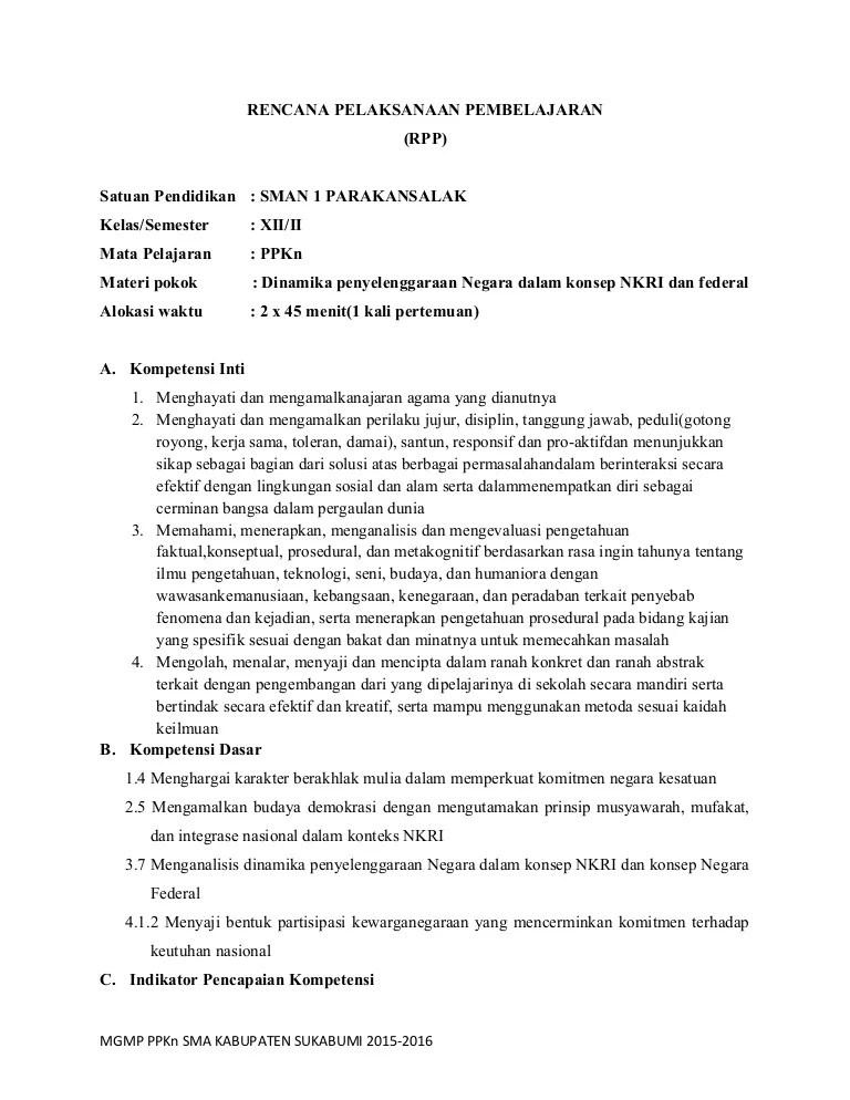 Rpp Bab 7 Ppkn Sma Kelas Xii Kurnas