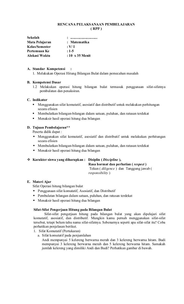Rpp Matematika Kelas 5 Semester 1 Kurikulum 2013 Revisi 2018 : matematika, kelas, semester, kurikulum, revisi, Pelajaran, Matematika, Kelas, Mengajarku