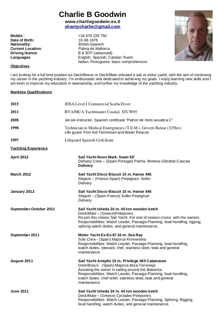 resume sample for nautical