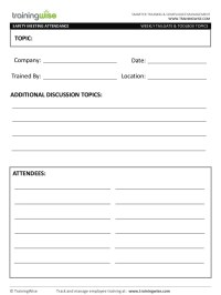 Safety Meeting Form (free) - by TrainingWise