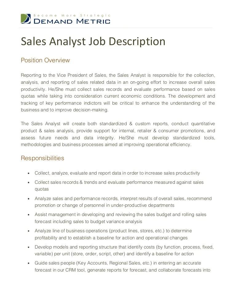 Sales Analyst Job Description