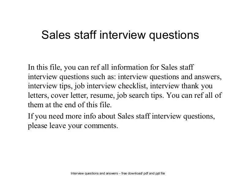 Sales Staff Interview Questions