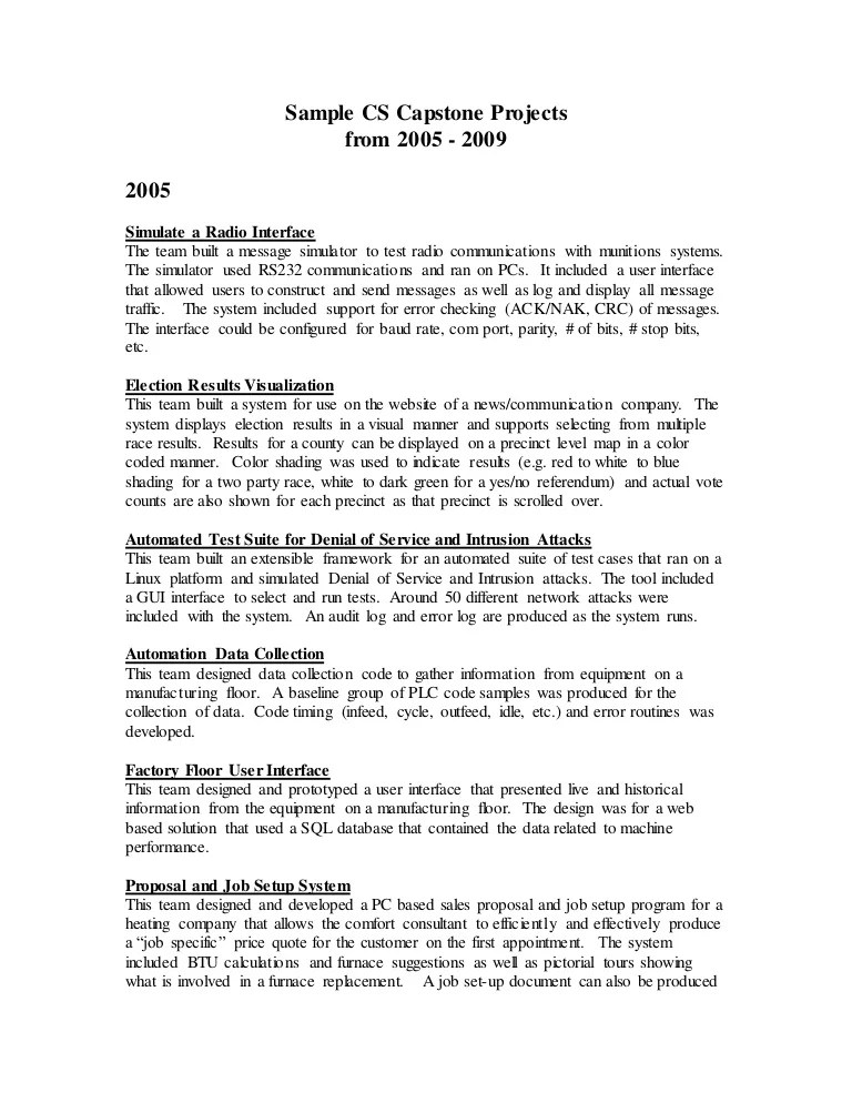 Sample Capstone Projects From 2005