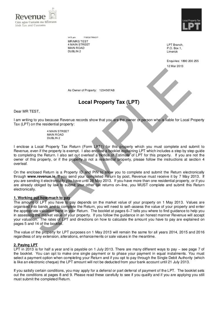 Sample Letter Lpt 2