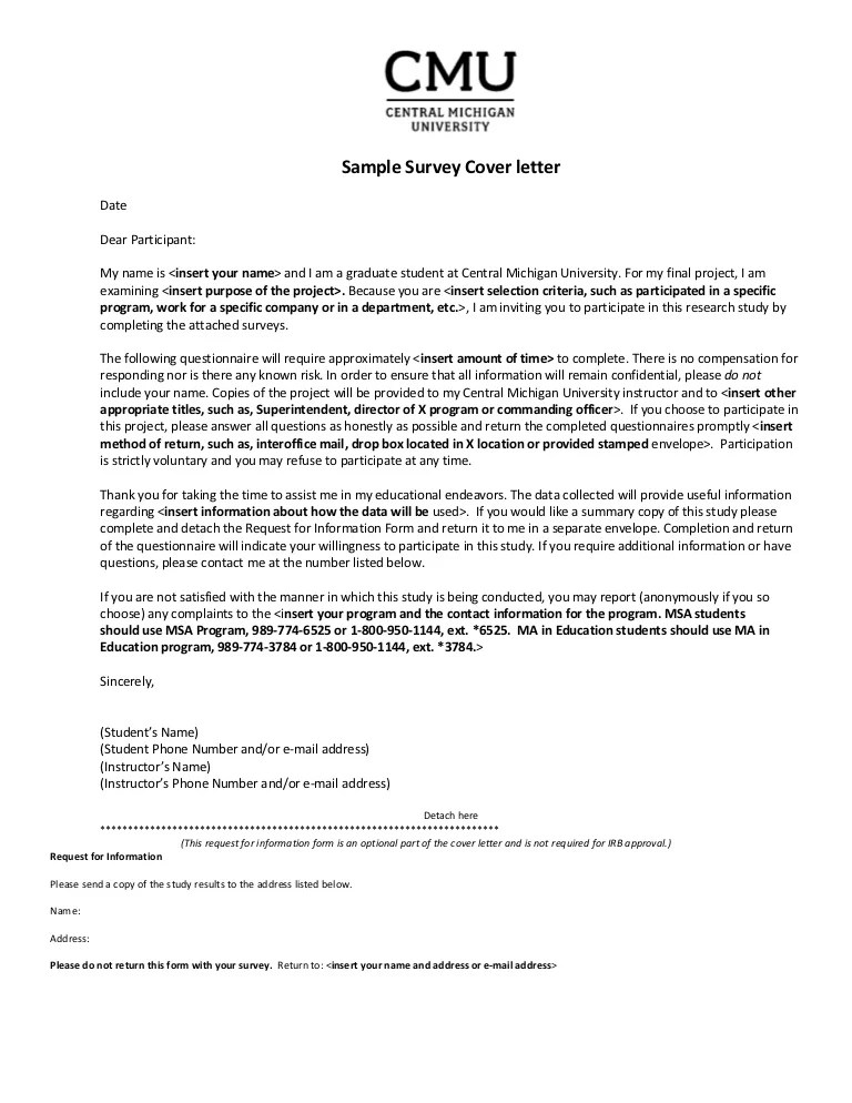 Sample Survey Cover Letter