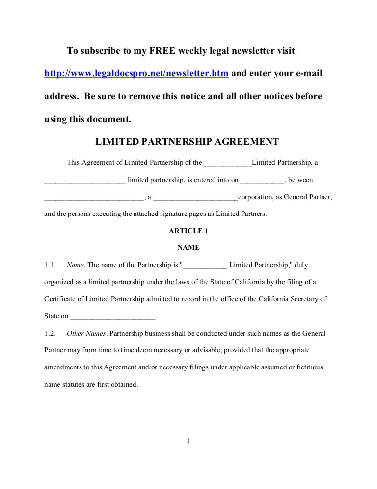 Download the keyword by clicking the template … Sample California Limited Partnership Agreement