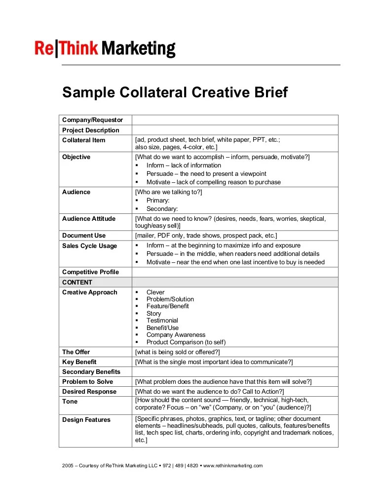 Примеры брифов Sample Collateral Creative Brief