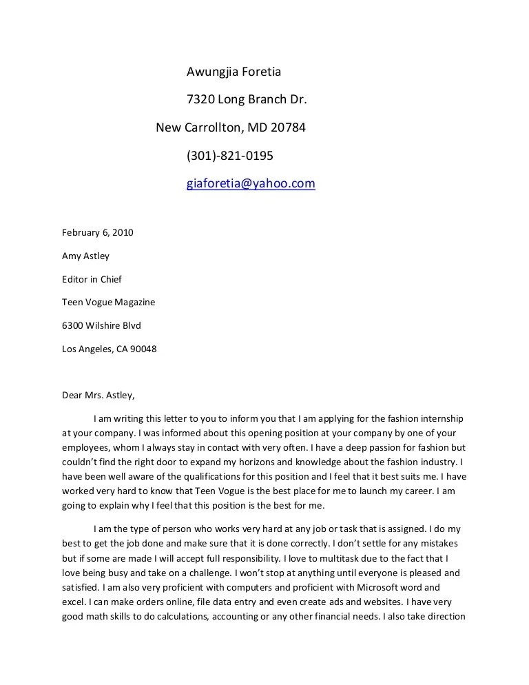 Sample Cover Letter Wikispace