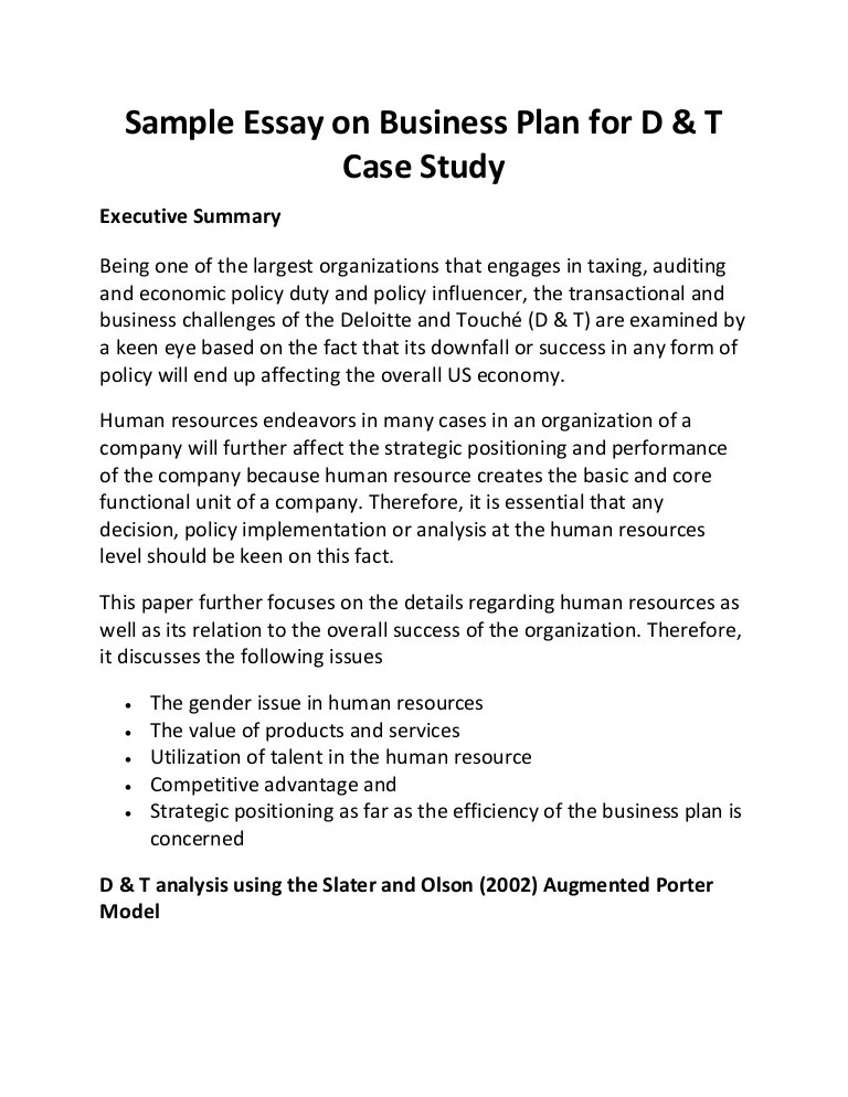 Sample Essay On Business Plan For D & T Case Study