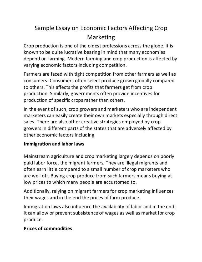 Essays On Economy Sample Essay On Economic Factors Affecting Crop