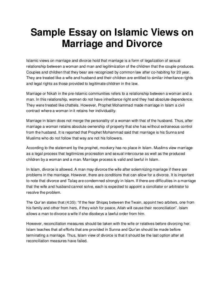 Divorce Essay Sample Essay On Islamic Views On Marriage And Divorce