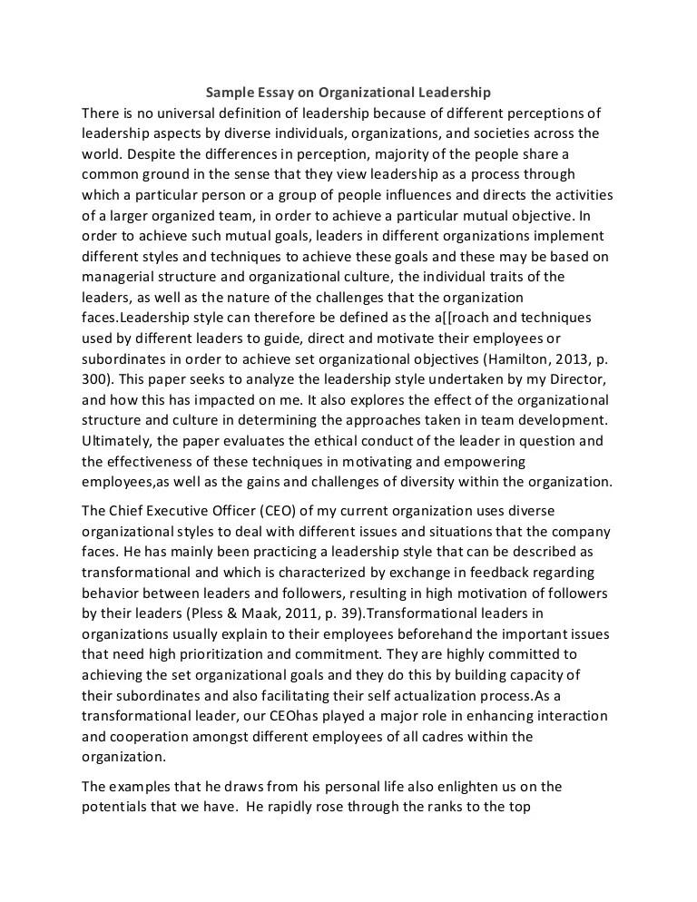 Sample Essay On Organizational Leadership