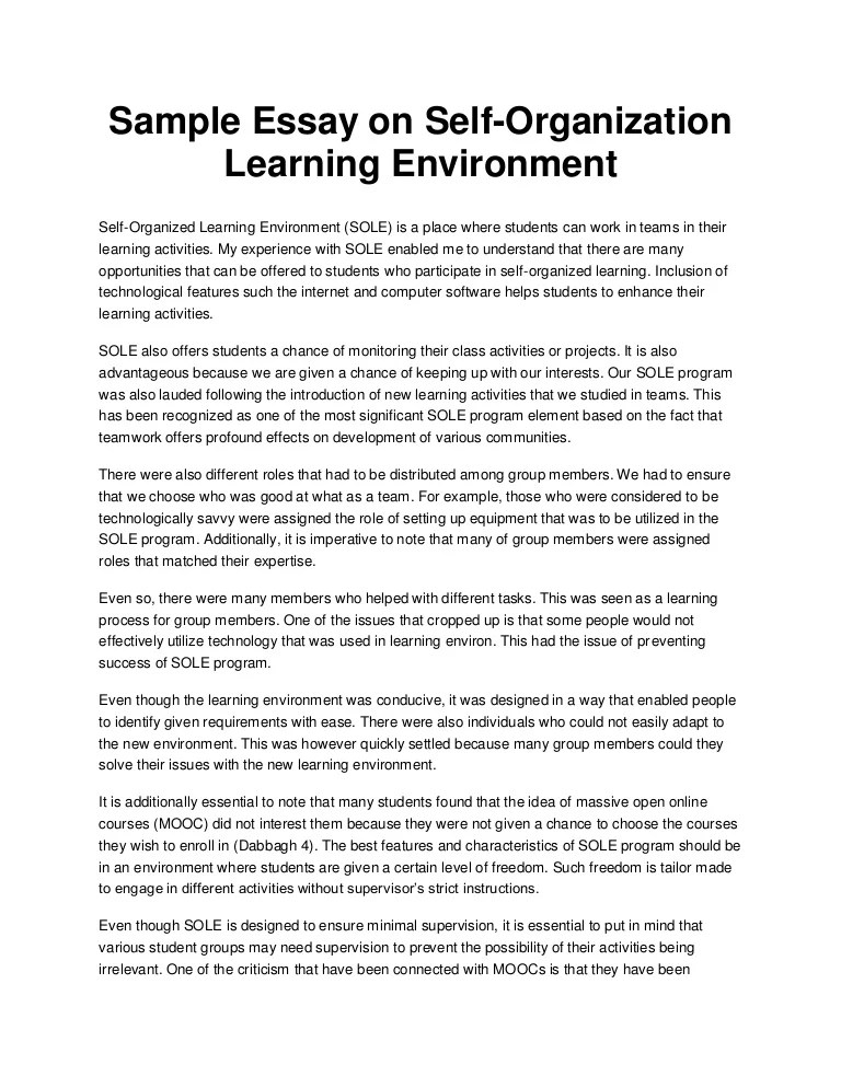 Sample Essay On Self Organization Learning Environment