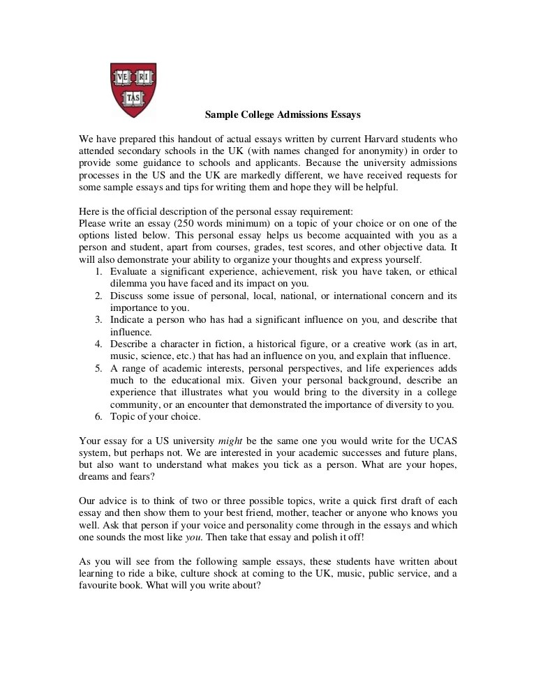 college essay examples ivy league