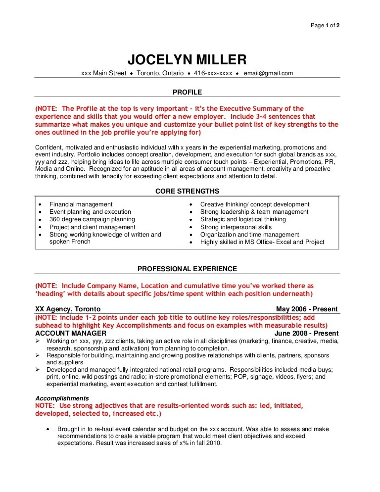 marketing agency resume sample