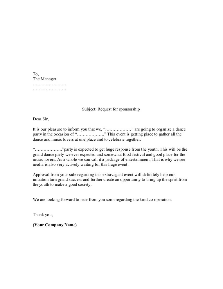 Proposal Sample Of Sponsorship Letter