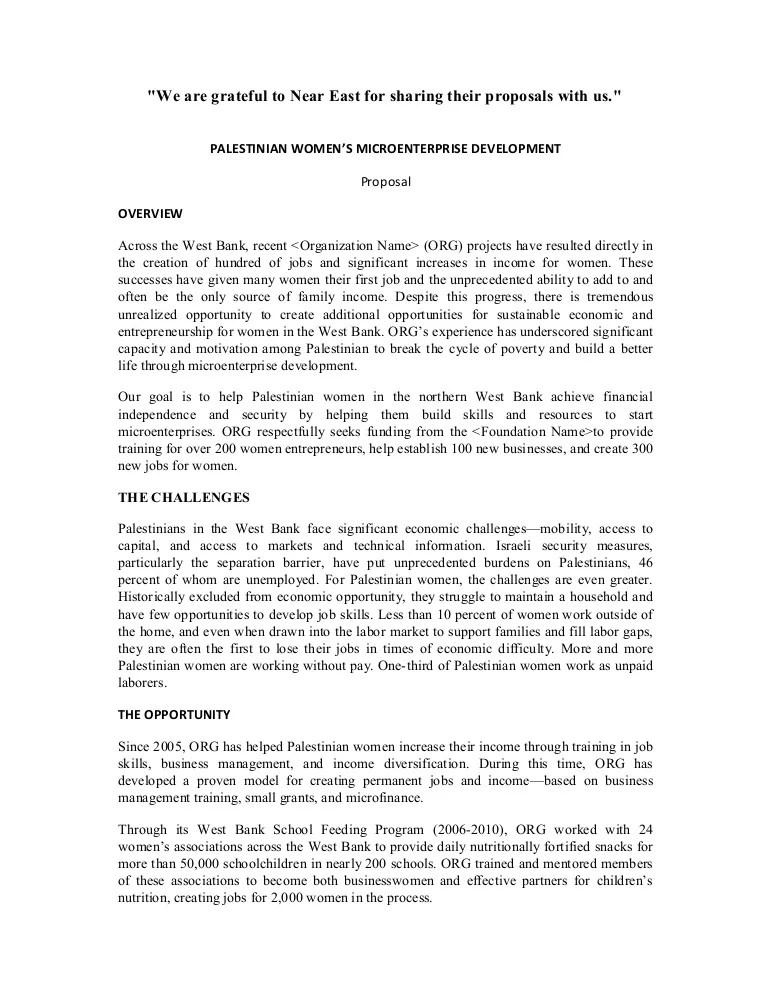 Sample Proposal On Women's Microenterprise Development