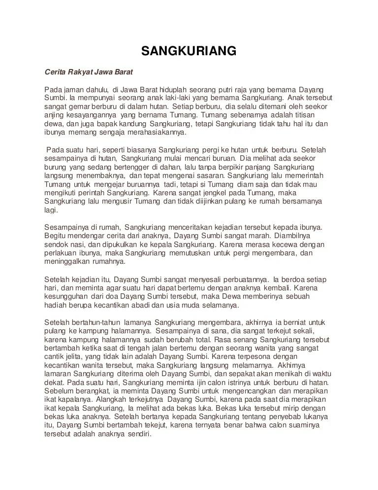 Contoh Naskah Drama Sangkuriang dalam Bahasa Inggris untuk