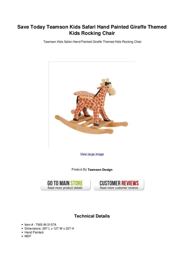 Save Today Teamson Kids Safari Hand Painted Giraffe Themed
