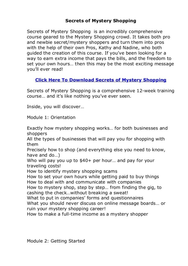 Secrets of Mystery Shopping Review. Does Secrets of Mystery Shopping