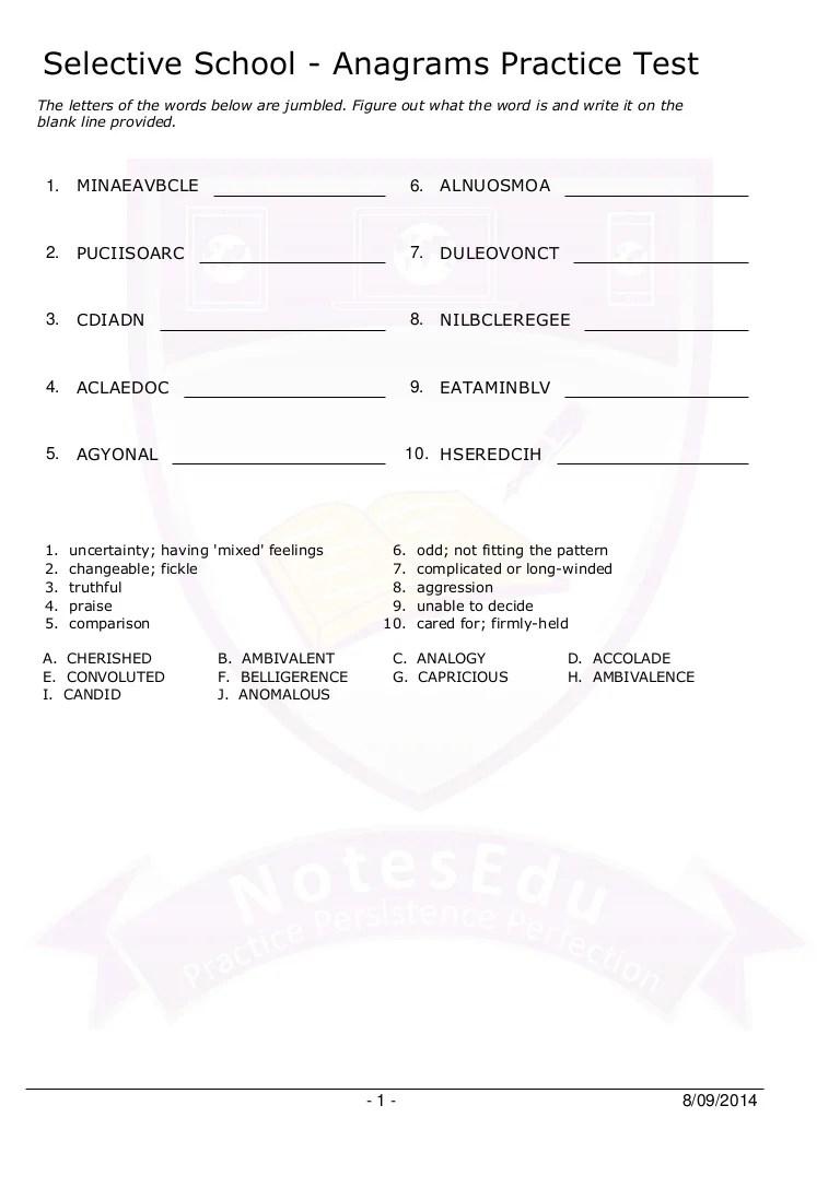 Selective school anagrams practice test [ 1087 x 768 Pixel ]