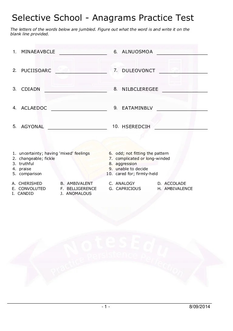 hight resolution of Selective school anagrams practice test