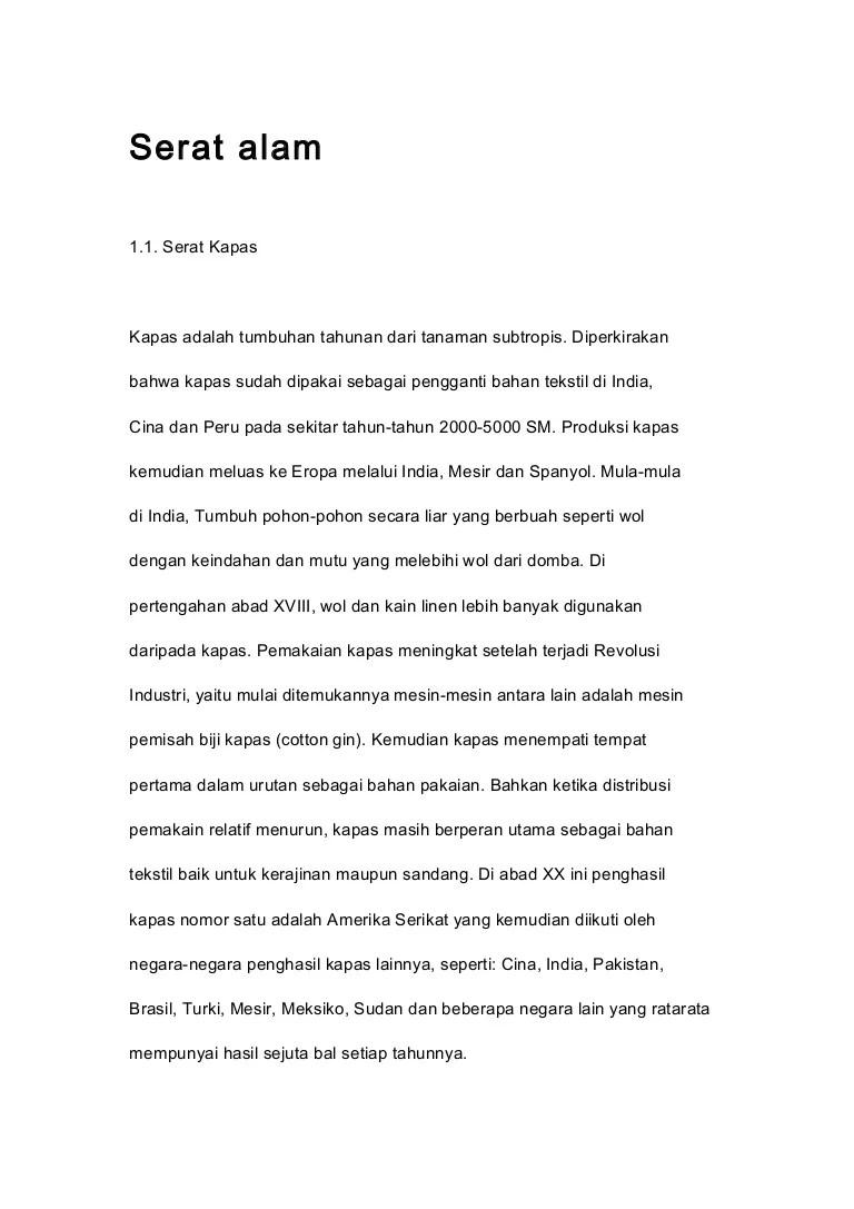 Jenis Serat Bahan Tekstil Alam | Mikirbae.com