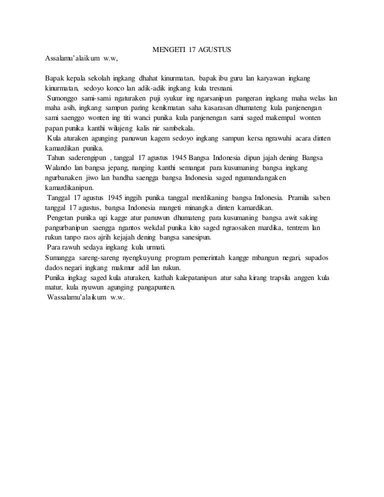 Sesorah Bahasa Jawa : sesorah, bahasa, Pengetahuan, Contoh, Pidato, Tentang, Agustus, Dalam, Bahasa