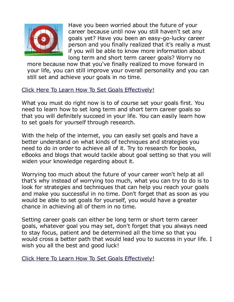 Short Term Career Goals Setting Personal Goals