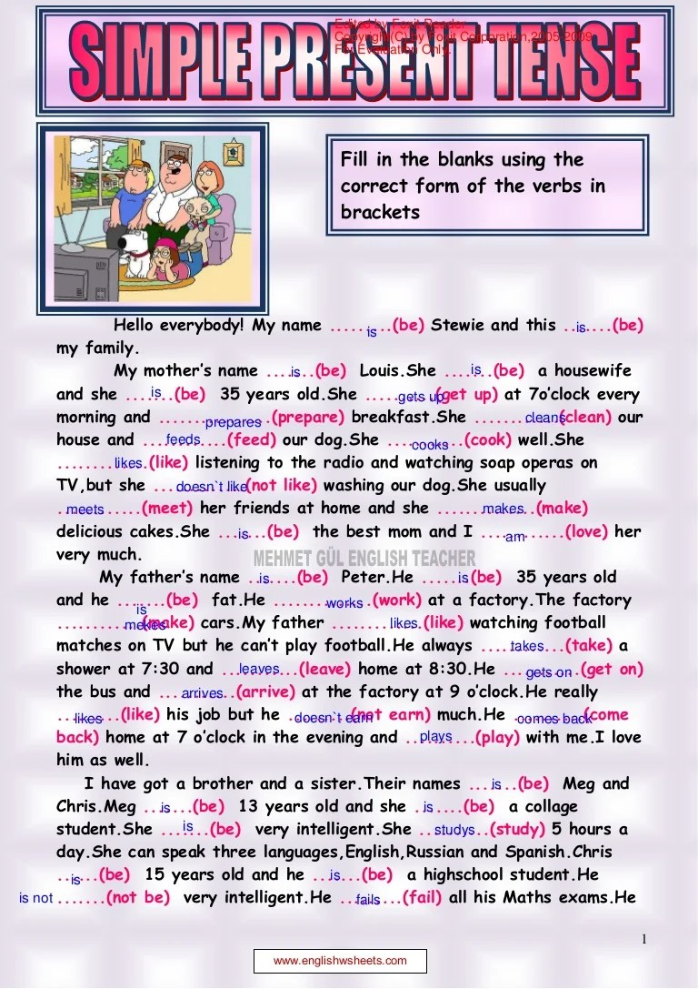 small resolution of Simple present tense reading 1.pdf alejandra y jenifer