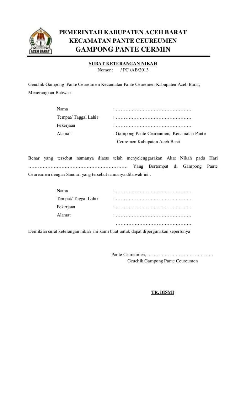 Surat Pernyataan Nikah : surat, pernyataan, nikah, Surat, Keterangan, Nikah