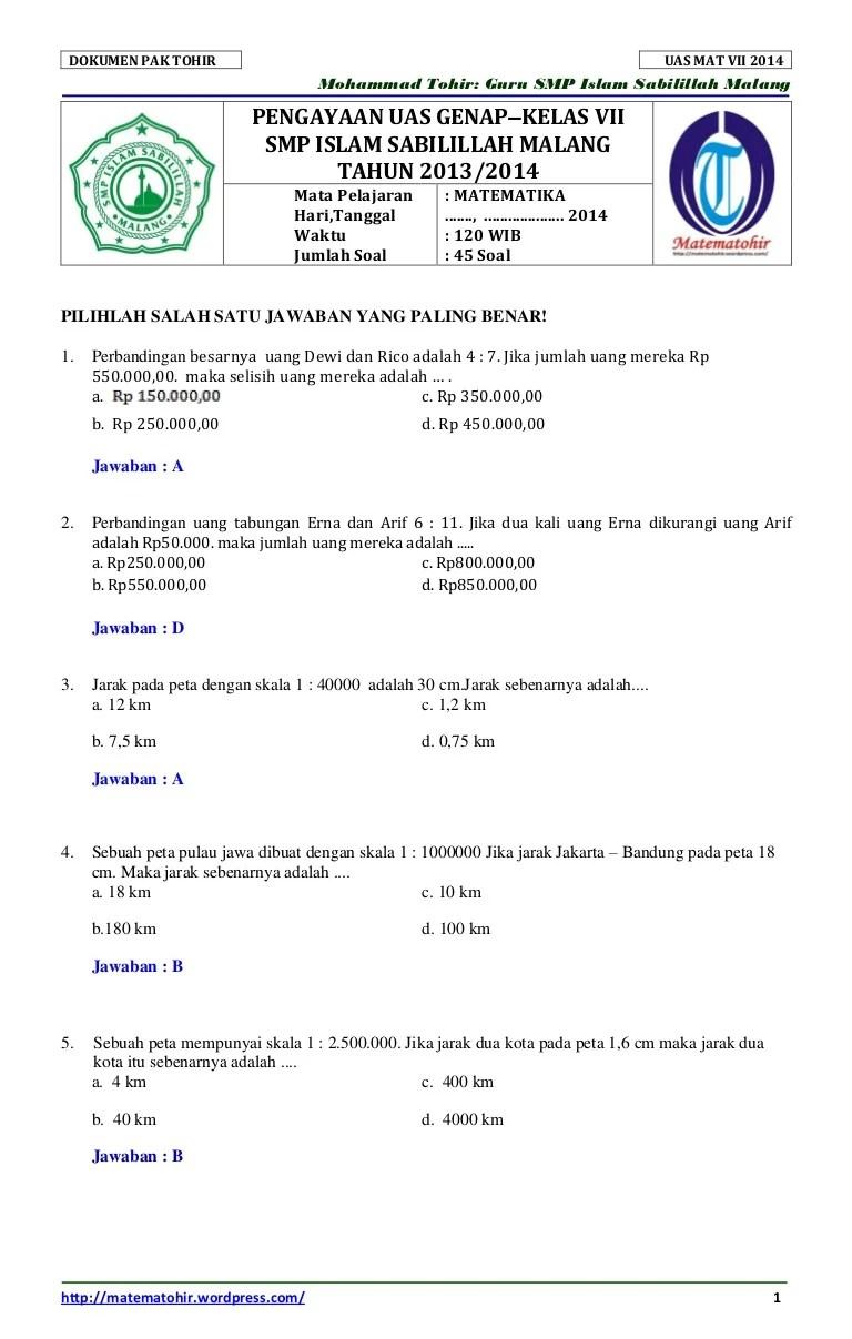 14/09/2021· kumpulan soal matematika kelas 6 sd semester 1 dan 2 dilengkapi kunci jawaban 1. Soal dan-kunci-jawaban-uas-matematika-smp-semester-2-kelas