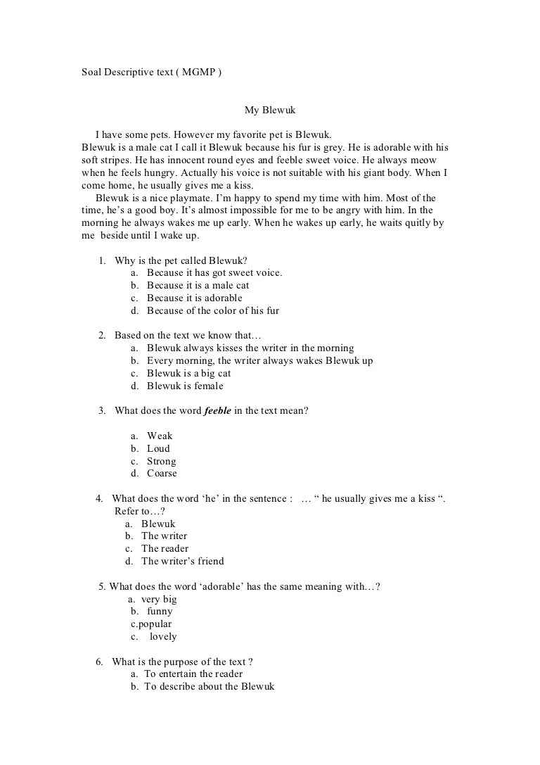 Soal Uraian Teks Deskripsi : uraian, deskripsi, Contoh, Descriptive, Pilihan, Ganda, Jawabannya, Kelas, Jlfasr