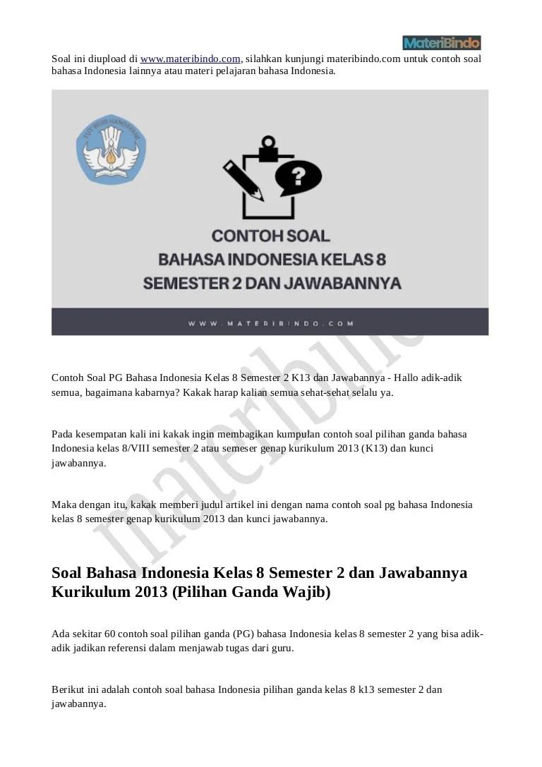 Soal Bahasa Indonesia Kelas 8 Semester 2 Kurikulum 2013 : bahasa, indonesia, kelas, semester, kurikulum, Bahasa, Indonesia, Kelas, Semester