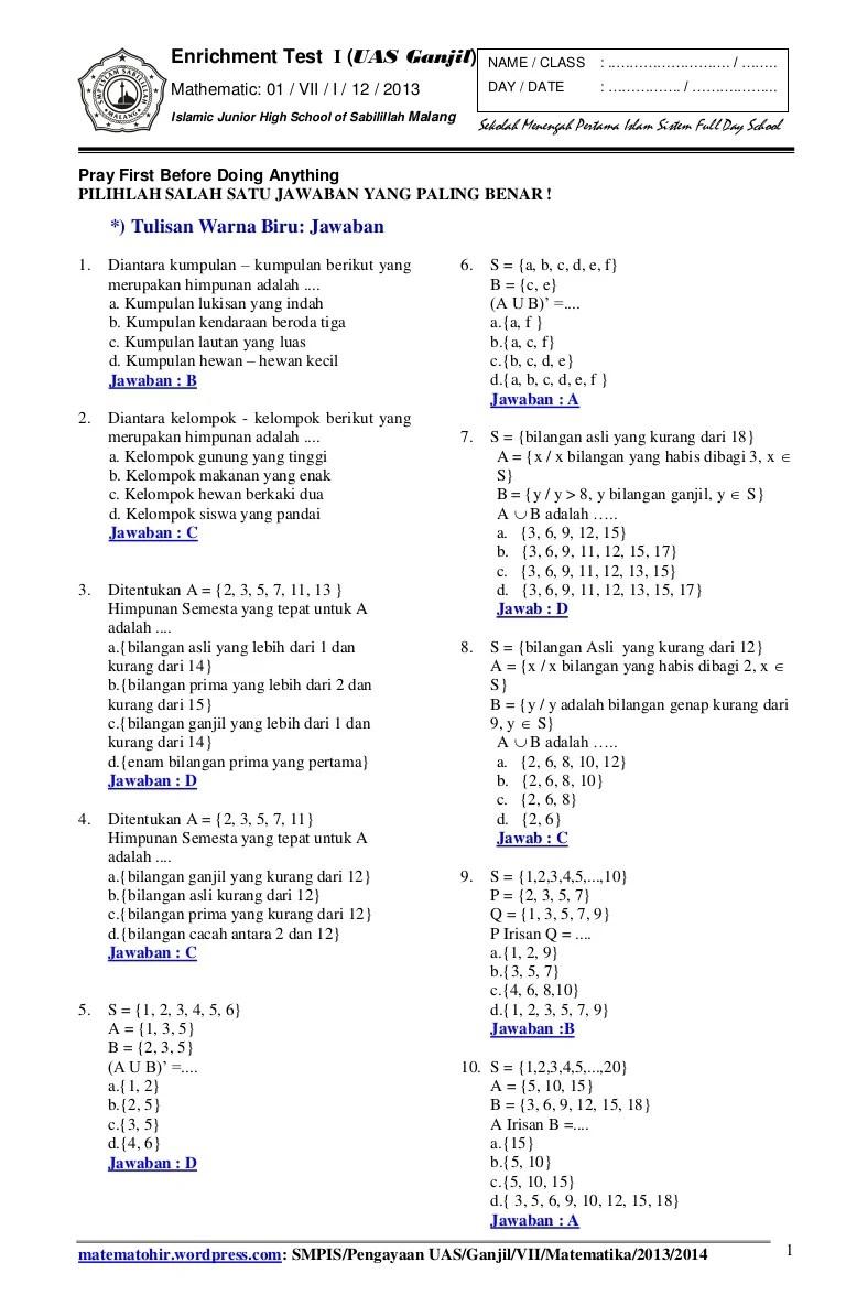 Soal Uas Matematika Kelas 8 Semester 1 Kurikulum 2013 : matematika, kelas, semester, kurikulum, Matematika, Kelas, Semester, Kurikulum, Galeri