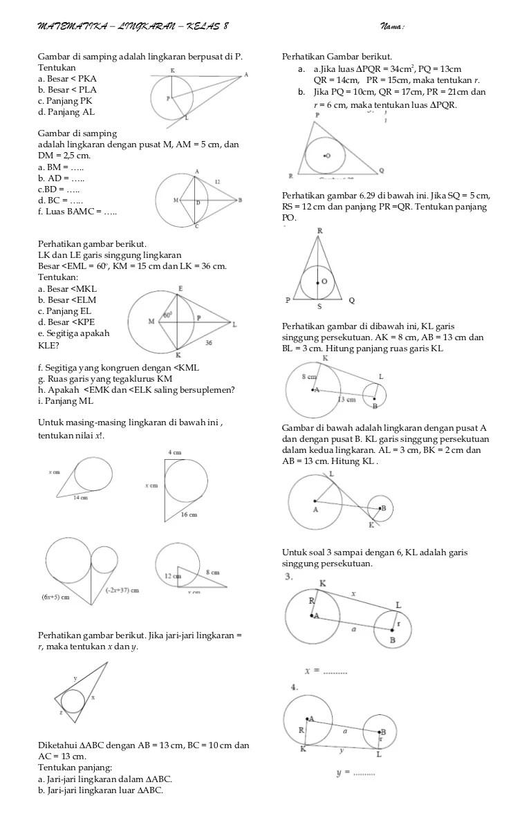 Soal Lingkaran Kelas 8 Pdf : lingkaran, kelas, Matematika, Lingkaran, Helmi, Kediris
