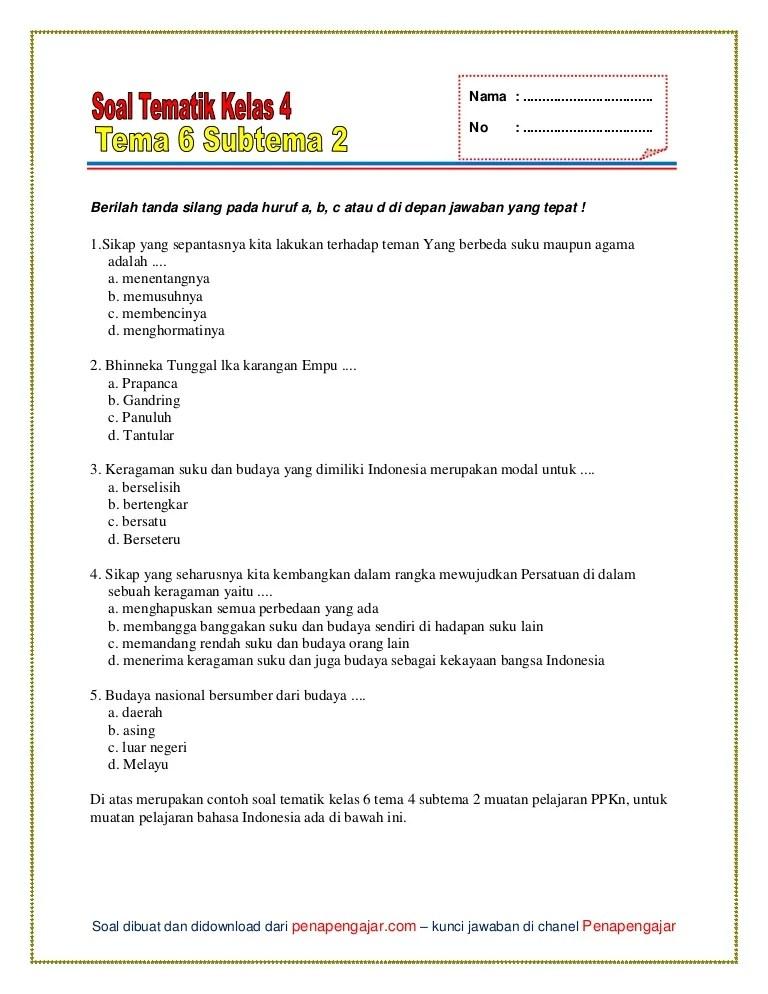 Soal Tema 4 Kelas 6 : kelas, Kelas, Subtema
