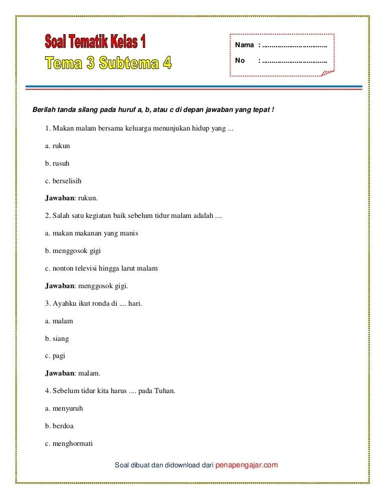 Soal Tema 1 Kelas 1 : kelas, Tematik, Kelas, Subtema, Kunci, Jawaban