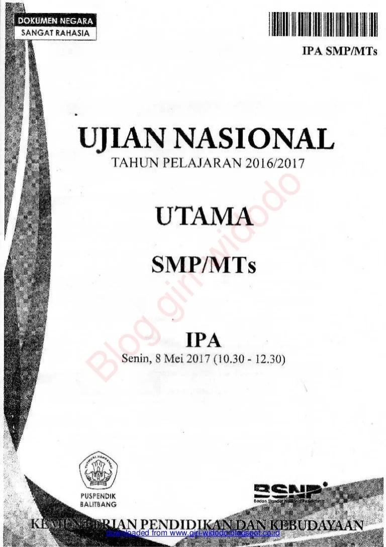 Soal Un Ipa Smp 2017 :