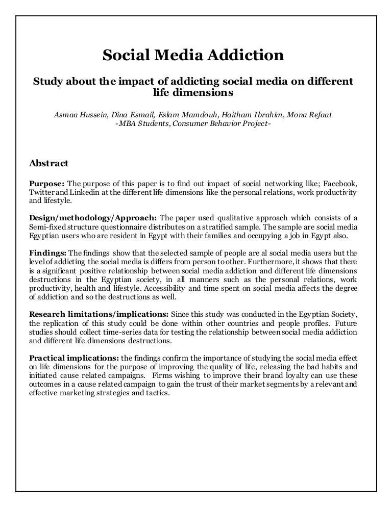 Social Media Addiction Primary Research