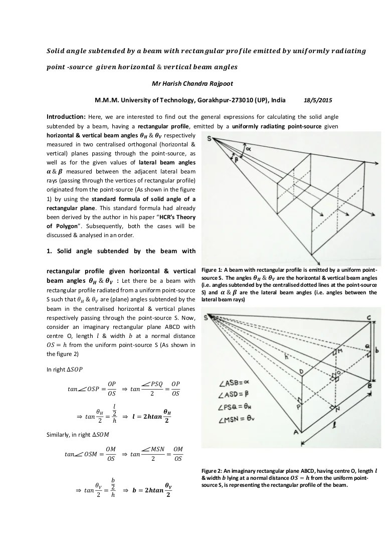 hight resolution of solid angle subtended by a beam with rectangular profile given horizontal vertical beam angles radiometry by hcr