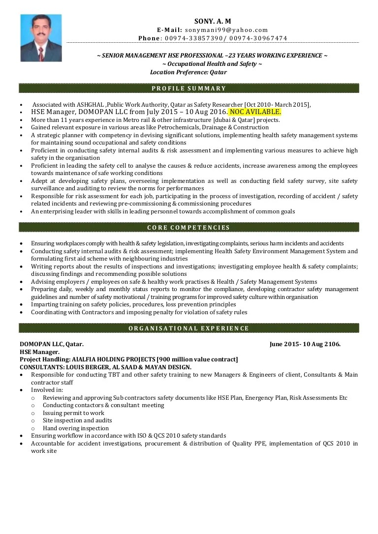 Hse Coordinator Cover Letter Hse Manager Cv
