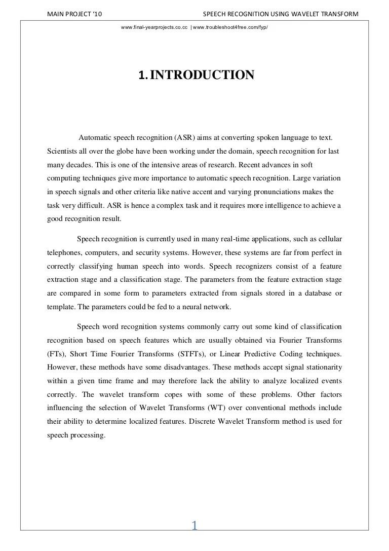 Speech recognition-using-wavelet-transform